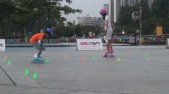 Chinese children are practising pulley - stock footage
