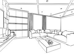 outline sketch drawing interior perspective of house - stock illustration