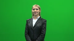 Blond busyness women profile portrait against green screen Stock Footage