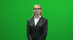 Blond busyness women with glasses isolated green screen Stock Footage