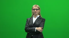 Serious busyness women isolated green screen Stock Footage