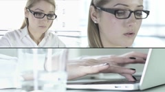 Young blond woman working on lap top Stock Footage