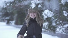 Happy women having fun at snow fall winter time slow motion Stock Footage