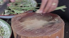 sliced lemongrass on  chopping wooden block - stock footage
