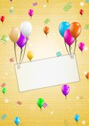 background with balloons and confetti - stock illustration
