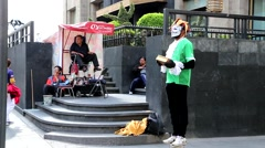 Mexico City - People Walking and Living Statue Artist. Stock Footage