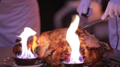 Dish from the chef in the fire in restaurant Stock Footage