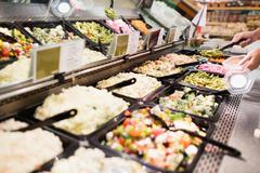 Close up view of an appetizing buffet of prepared meal - stock photo
