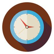 Flat Office Workplace Interior Clock Circle Icon with Long Shadow Stock Illustration