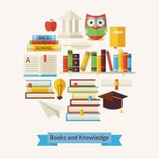 Vector Flat Style Books Education and Knowledge Objects Concept - stock illustration