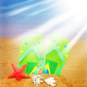 green sandals and starfish in sand - stock photo