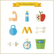 Flat Fitness and Dieting Objects Set Stock Illustration