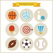 Flat Sport and Recreation Icons Set Stock Illustration