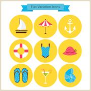 Flat Summer Holidays and Resort Icons Set Stock Illustration