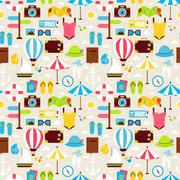 Flat Summer Beach Vacation Holiday Seamless Pattern Piirros