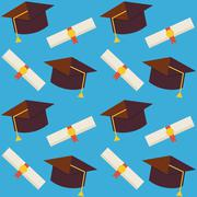 Flat Vector Seamless Pattern Graduate from School Hat and Diploma - stock illustration