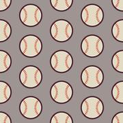 Flat Vector Seamless Sport and Recreation Activity Baseball Pattern - stock illustration