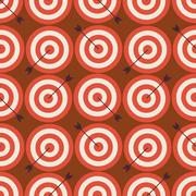 Flat Vector Seamless Sport and Recreation Target with Arrow Pattern - stock illustration
