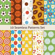 Ten Vector Flat Seamless Sport Recreation and Competition Patterns Set - stock illustration