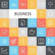 Vector Flat Line Art Modern Business Icons Set - stock illustration
