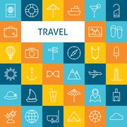 Vector Flat Line Art Modern Travel Vacation and Resort and School Icons Set Stock Illustration