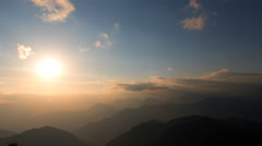 Sunset sky clouds moving Himalayas Nepal mountains time-lapse 4k video - stock footage