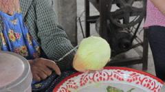 Papaya choping Som Tum, Thai papaya salad. Traditional Thai food Stock Footage