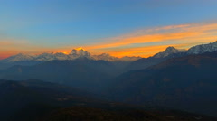 Sunrise Himalayas Nepal mountain Nature background aerial 4k video. Sky sunset Stock Footage