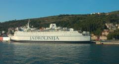 Jadrolinija Cruise Ship Harboured in the Bay of Dubrovnik Graded Stock Footage
