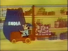 Cartoon of Santa's elves loading Christmas gifts into bags, 1970s Stock Footage