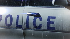 4K Police light flashing at the police car. Police surrounding. Stock Footage