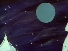 Cartoon of Santa Claus and his reindeers flying by full moon, 1970s - stock footage