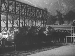 Long shot of horses bolting out of the starting gate at horse race, 1940s Stock Footage