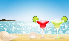 Summer seascape blur bokeh Stock Illustration