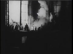 Lightning striking and setting curtains on fire in home, 1940s - stock footage