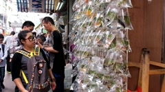 Asian girl looks at the stand with variety of goldfish in front of the store. - stock footage
