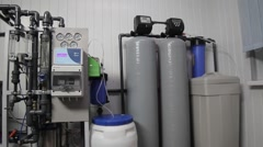 Equipment for water purification. General view of water production Stock Footage