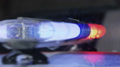 4K Police light flashing at the police car on the rain. Shot on RED EPIC Stock Footage