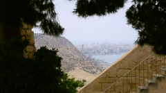 A view of the Alicante from Santa Barbara Stock Footage