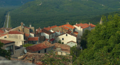 Old European Houses Rooftops in Motovun Sunset Stock Footage