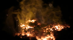 Close up of furnace in blacksmith workshop with flames in slow motion Stock Footage