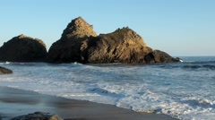 Pfeiffer Beach Keyhole Rock Waves Stock Footage