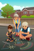 Kids Drawing on the Sidewalk Stock Illustration