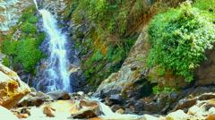 Waterfall mountain river Nepal. Water falling rocks Nature background 4k video. Stock Footage