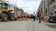 Shoot of  Tverskaya street reconstruction. Stock Footage