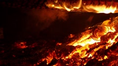 Close-up of the embers.Slow Motion - stock footage