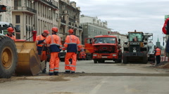 View of tverskaya street reconstruction. Stock Footage