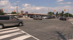 Traffic lights and power outage at city of Toronto intersection heatwave - stock footage