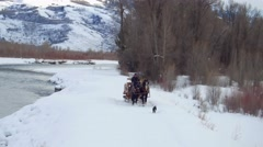 Horse and carriage follow a dog through snow by mountains 2 Stock Footage