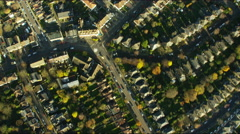 Aerial view of British suburban residential communities in London Stock Footage